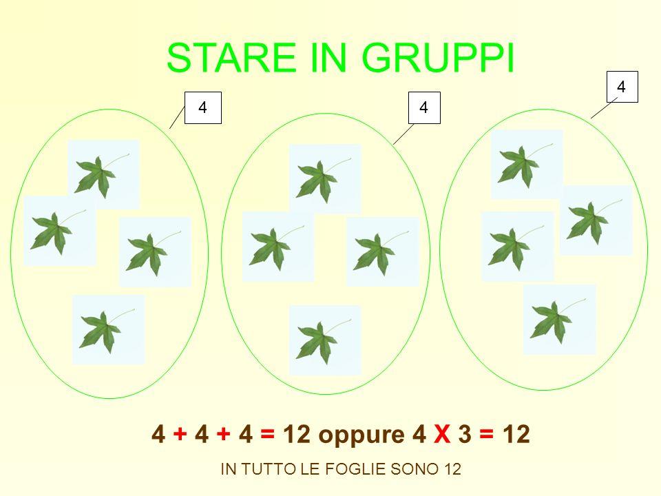 STARE IN GRUPPI 4 + 4 + 4 = 12 oppure 4 X 3 = 12 4 4 4