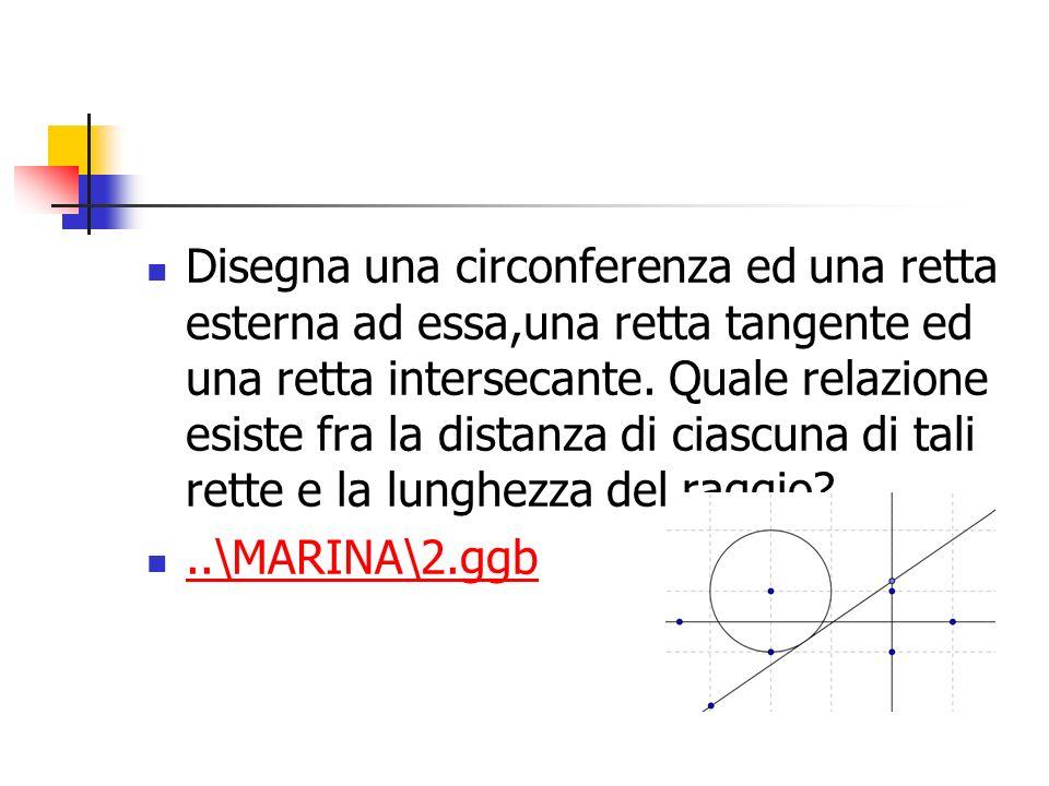 Disegna una circonferenza ed una retta esterna ad essa,una retta tangente ed una retta intersecante. Quale relazione esiste fra la distanza di ciascuna di tali rette e la lunghezza del raggio