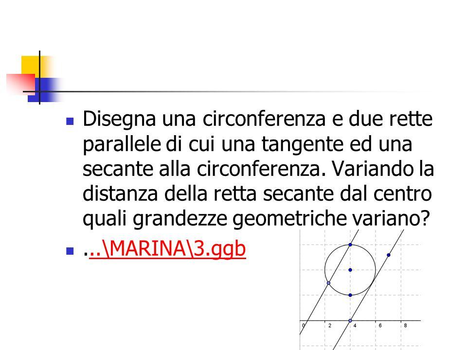 Disegna una circonferenza e due rette parallele di cui una tangente ed una secante alla circonferenza. Variando la distanza della retta secante dal centro quali grandezze geometriche variano