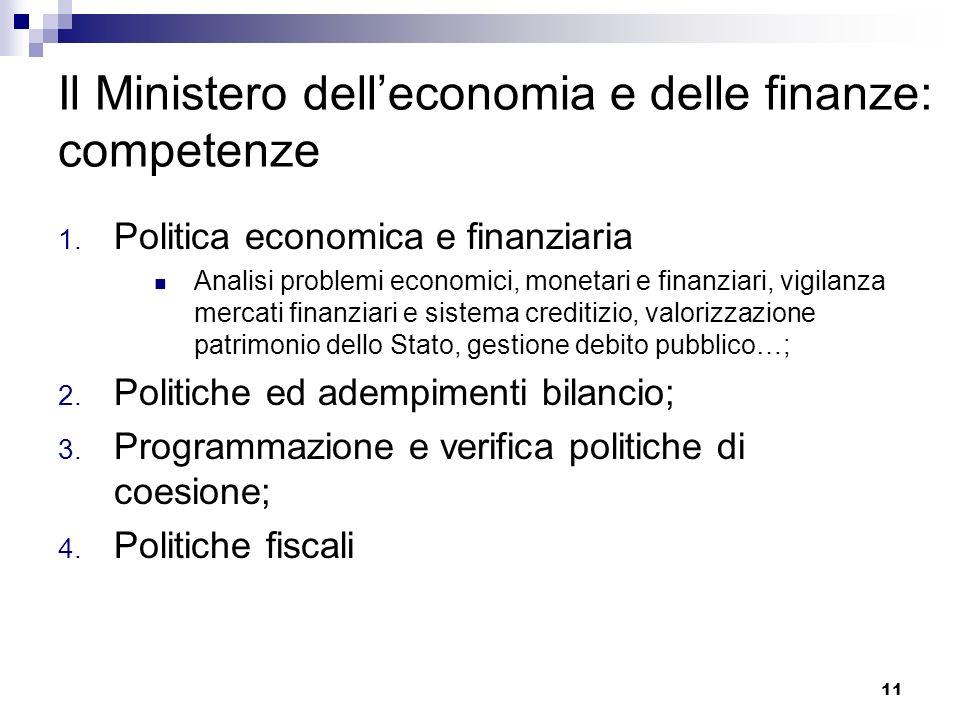 Il Ministero dell'economia e delle finanze: competenze