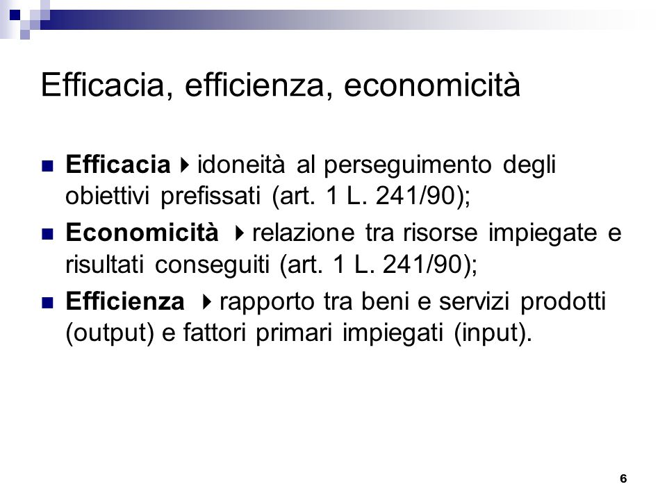 Efficacia, efficienza, economicità
