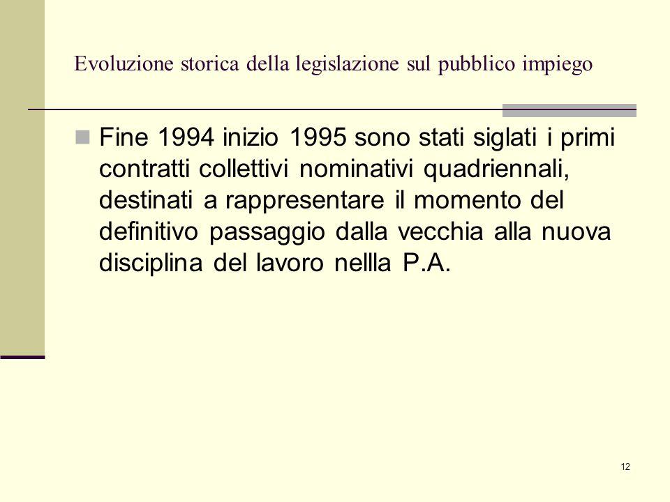 Evoluzione storica della legislazione sul pubblico impiego