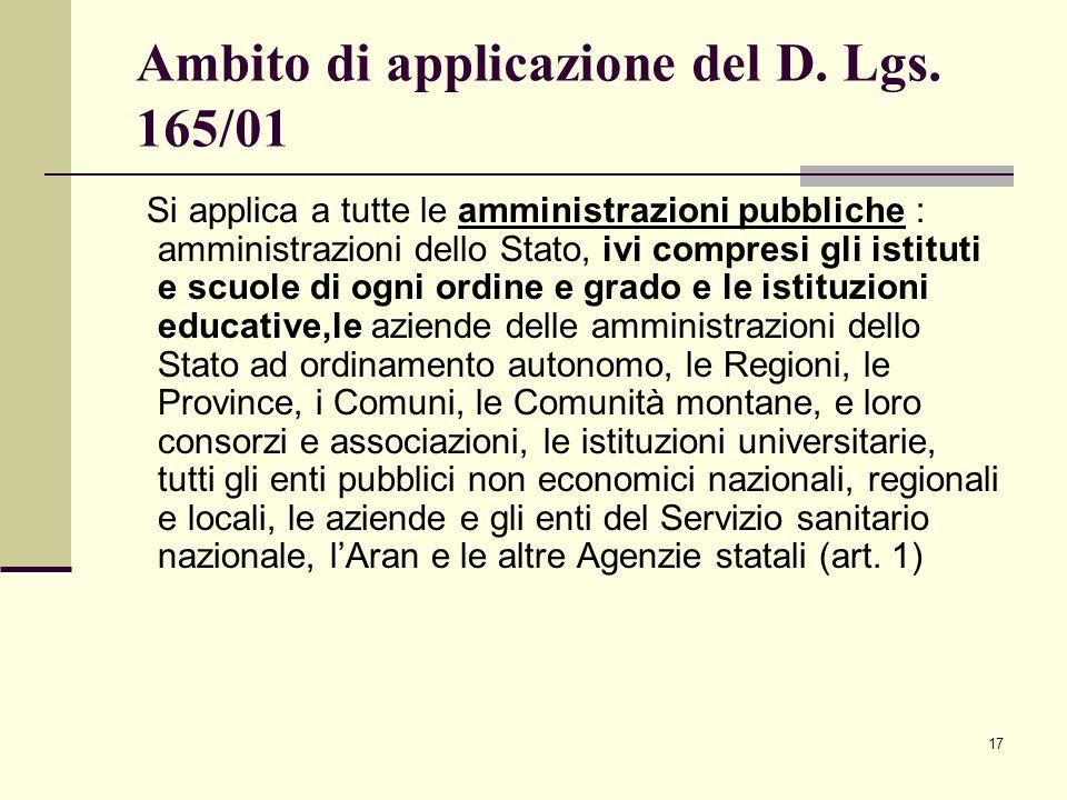 Ambito di applicazione del D. Lgs. 165/01