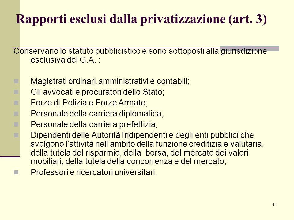 Rapporti esclusi dalla privatizzazione (art. 3)