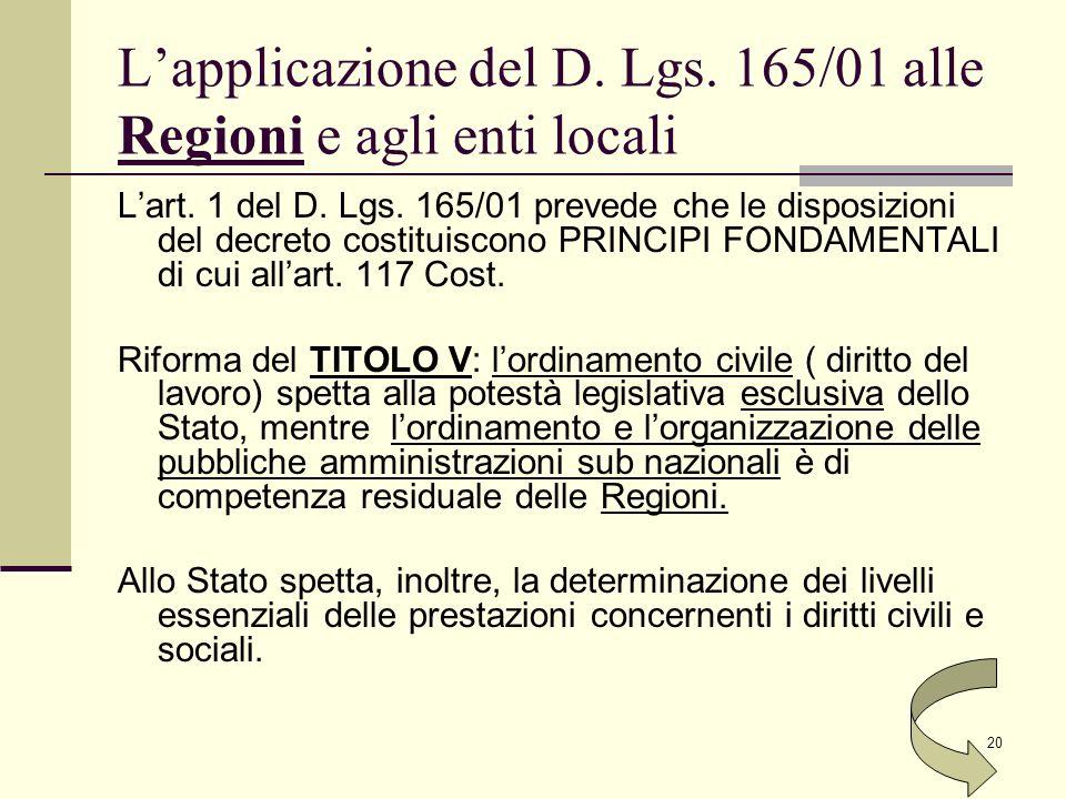 L'applicazione del D. Lgs. 165/01 alle Regioni e agli enti locali