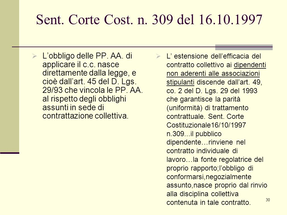 Sent. Corte Cost. n. 309 del 16.10.1997