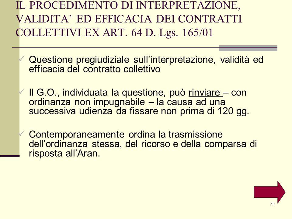 IL PROCEDIMENTO DI INTERPRETAZIONE, VALIDITA' ED EFFICACIA DEI CONTRATTI COLLETTIVI EX ART. 64 D. Lgs. 165/01