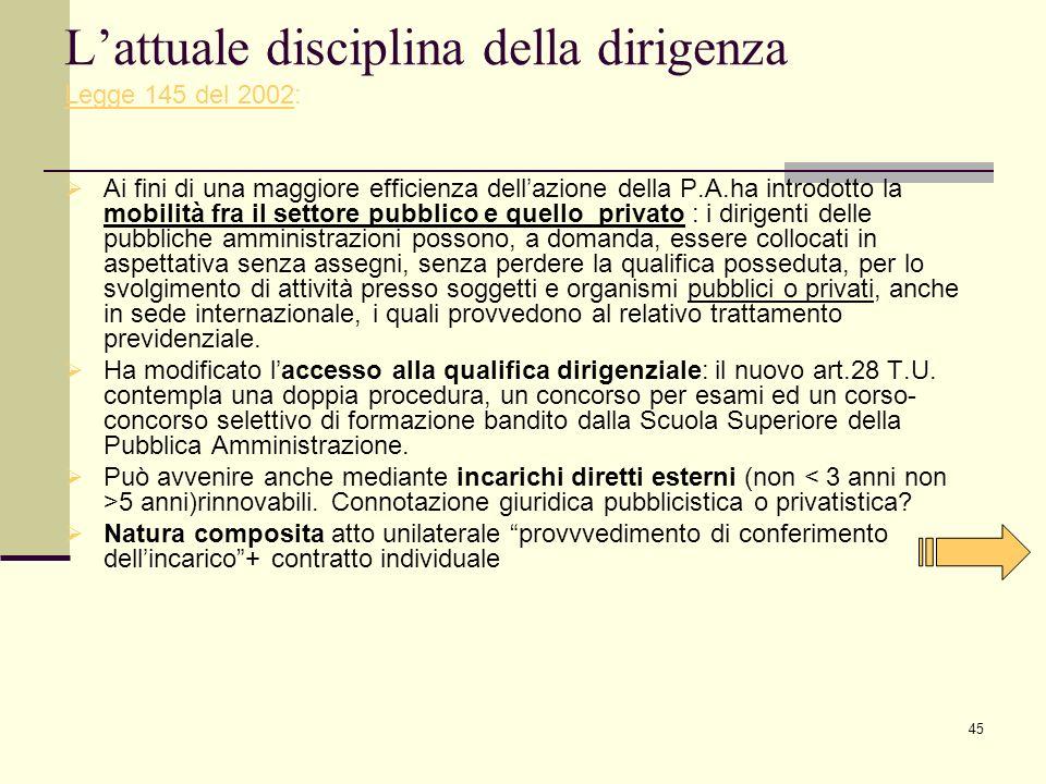 L'attuale disciplina della dirigenza