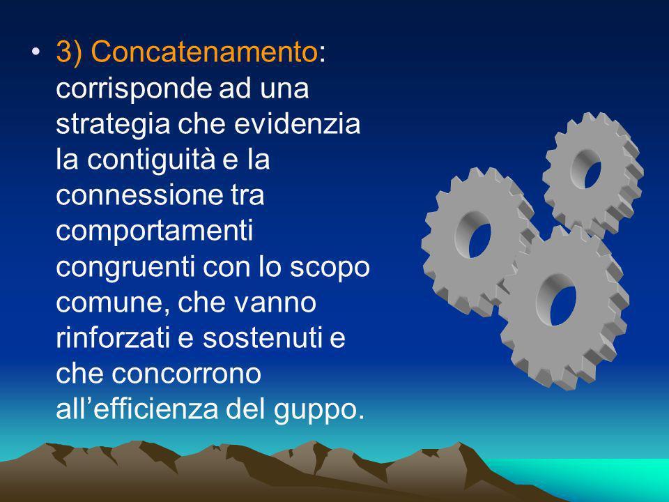 3) Concatenamento: corrisponde ad una strategia che evidenzia la contiguità e la connessione tra comportamenti congruenti con lo scopo comune, che vanno rinforzati e sostenuti e che concorrono all'efficienza del guppo.