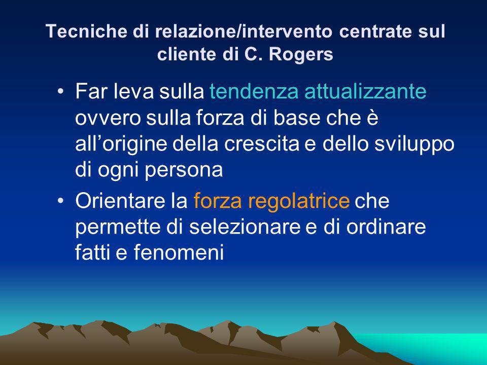 Tecniche di relazione/intervento centrate sul cliente di C. Rogers