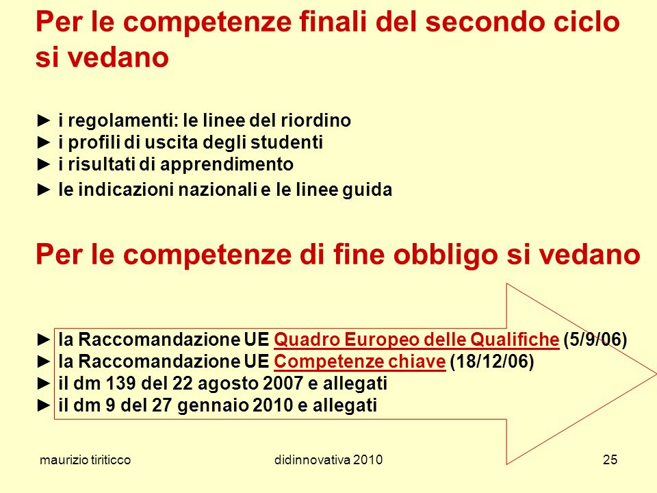 Per le competenze finali del secondo ciclo si vedano ► i regolamenti: le linee del riordino ► i profili di uscita degli studenti ► i risultati di apprendimento ► le indicazioni nazionali e le linee guida Per le competenze di fine obbligo si vedano ► la Raccomandazione UE Quadro Europeo delle Qualifiche (5/9/06) ► la Raccomandazione UE Competenze chiave (18/12/06) ► il dm 139 del 22 agosto 2007 e allegati ► il dm 9 del 27 gennaio 2010 e allegati