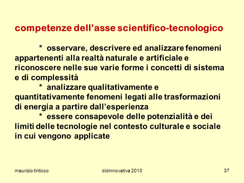 competenze dell'asse scientifico-tecnologico