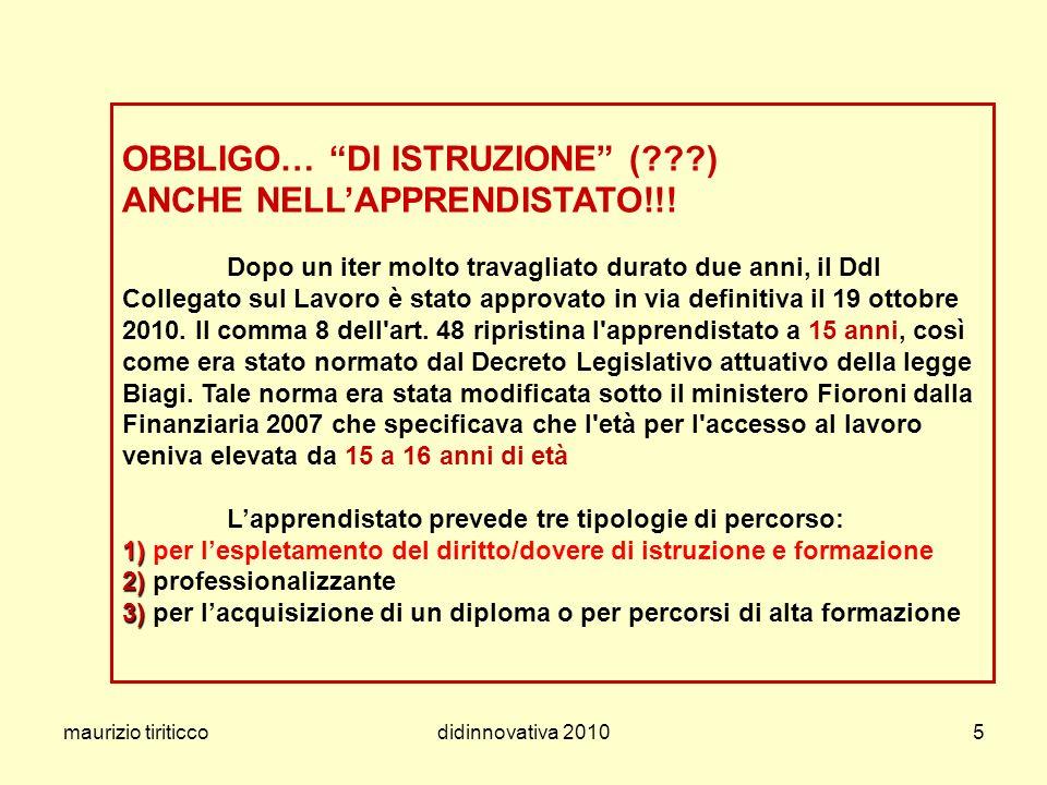 OBBLIGO… DI ISTRUZIONE (. ) ANCHE NELL'APPRENDISTATO