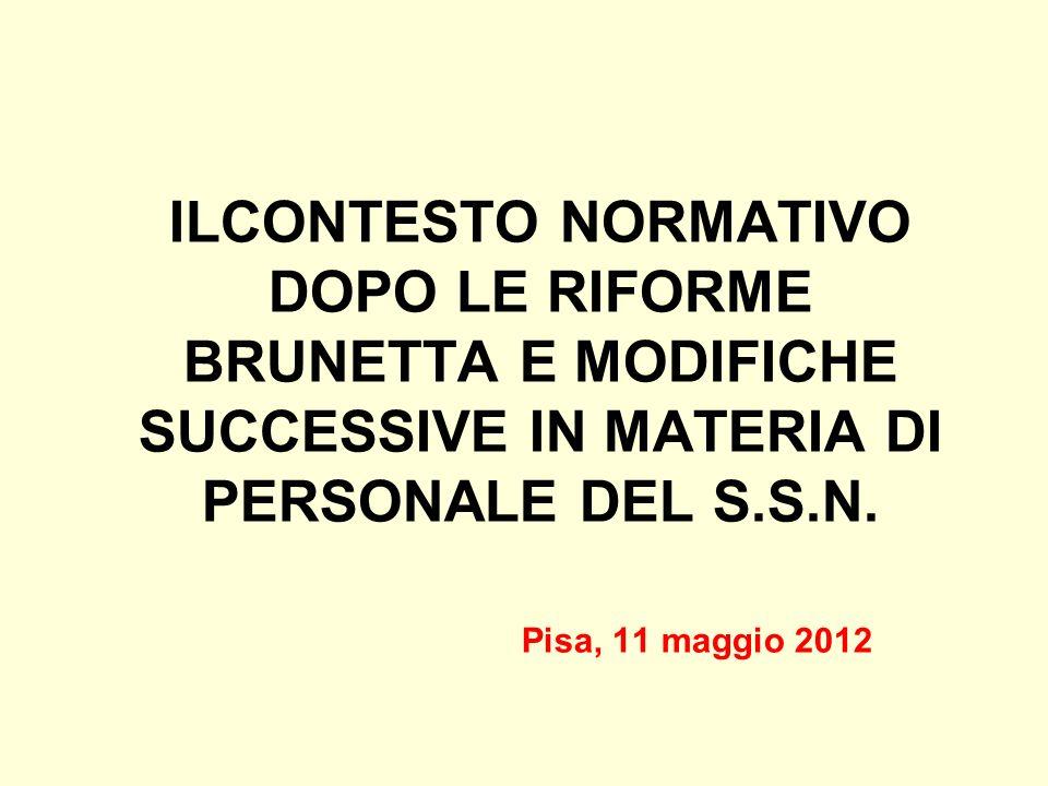 ILCONTESTO NORMATIVO DOPO LE RIFORME BRUNETTA E MODIFICHE SUCCESSIVE IN MATERIA DI PERSONALE DEL S.S.N.