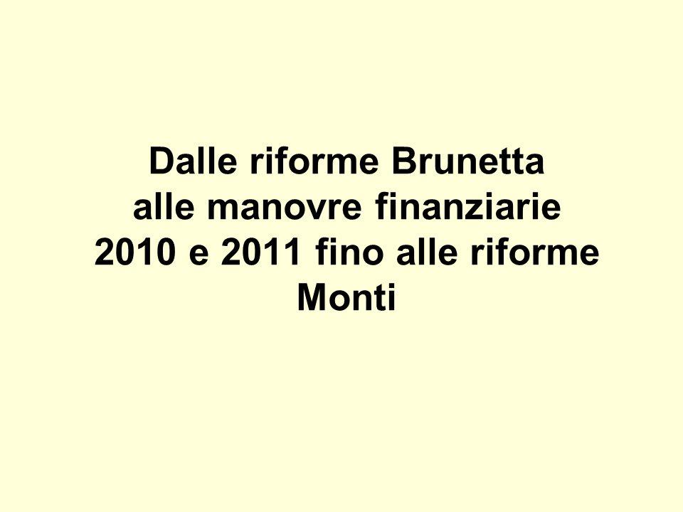 Dalle riforme Brunetta alle manovre finanziarie 2010 e 2011 fino alle riforme Monti