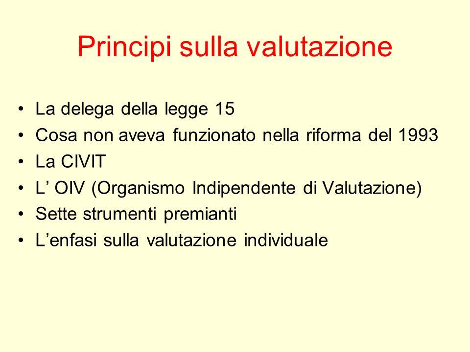 Principi sulla valutazione