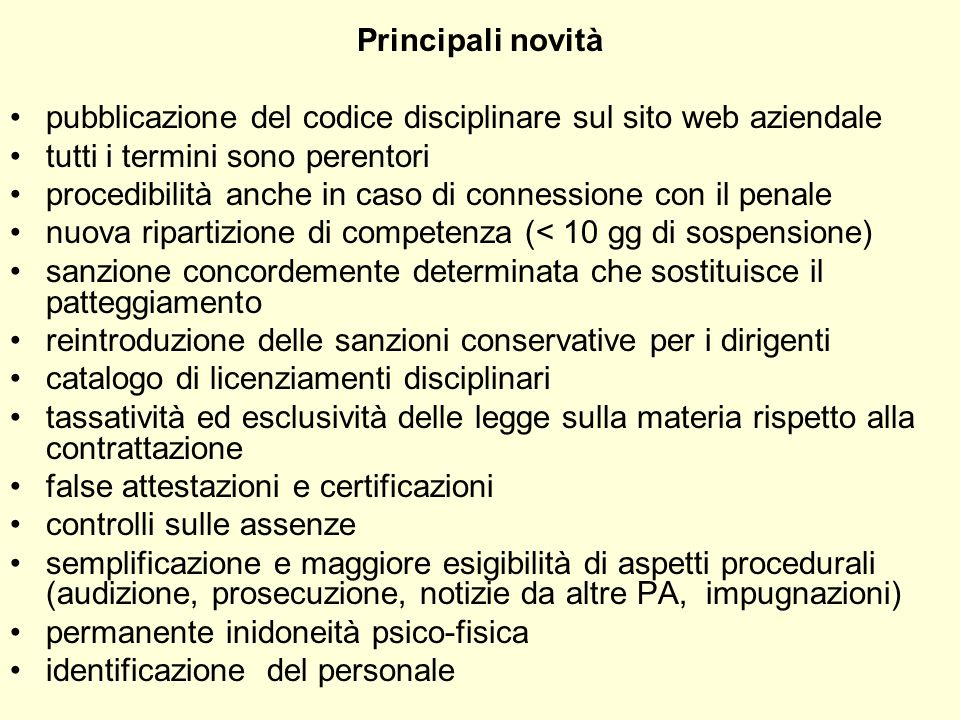 Principali novità pubblicazione del codice disciplinare sul sito web aziendale. tutti i termini sono perentori.