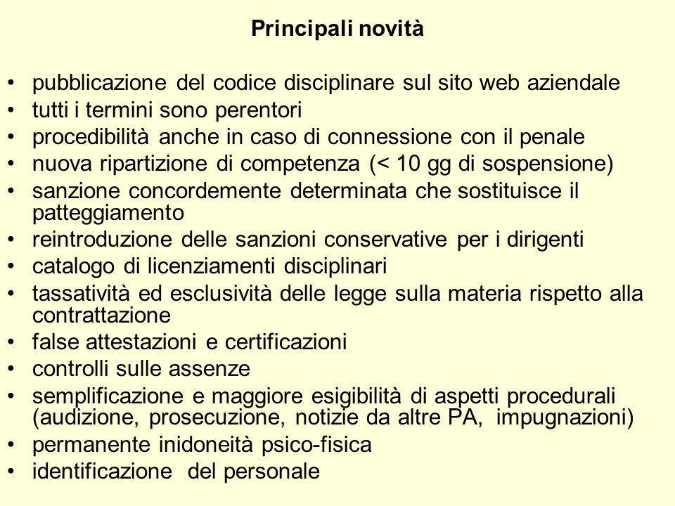 Principali novitàpubblicazione del codice disciplinare sul sito web aziendale. tutti i termini sono perentori.