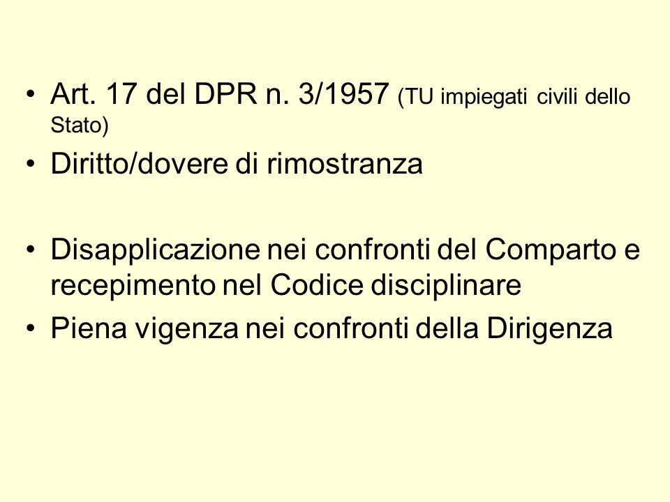 Art. 17 del DPR n. 3/1957 (TU impiegati civili dello Stato)