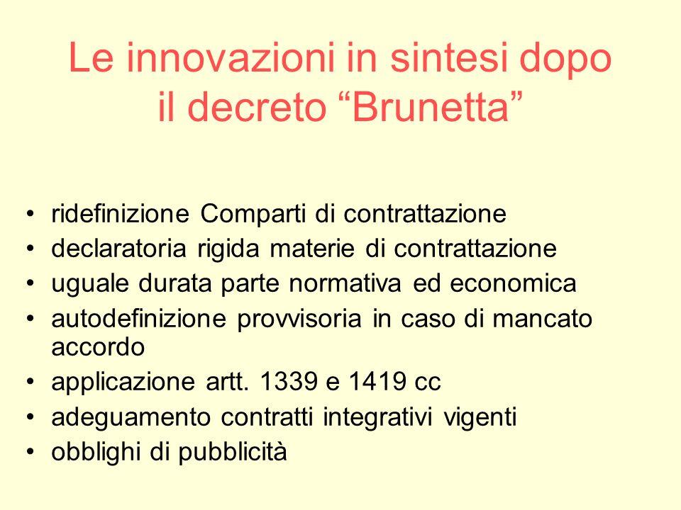 Le innovazioni in sintesi dopo il decreto Brunetta