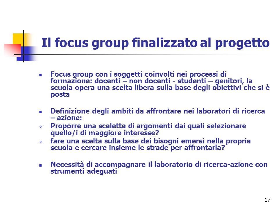 Il focus group finalizzato al progetto