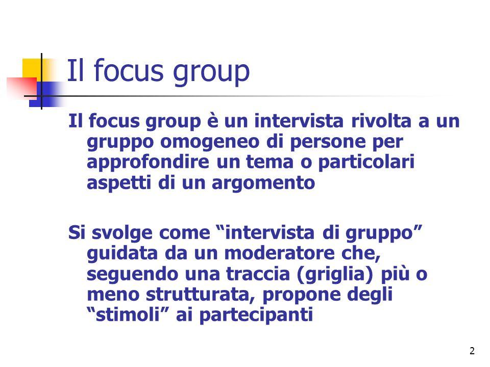 Il focus group Il focus group è un intervista rivolta a un gruppo omogeneo di persone per approfondire un tema o particolari aspetti di un argomento.