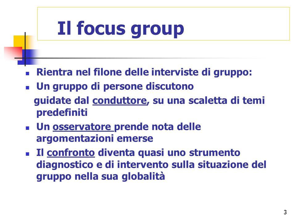 Il focus group Rientra nel filone delle interviste di gruppo: