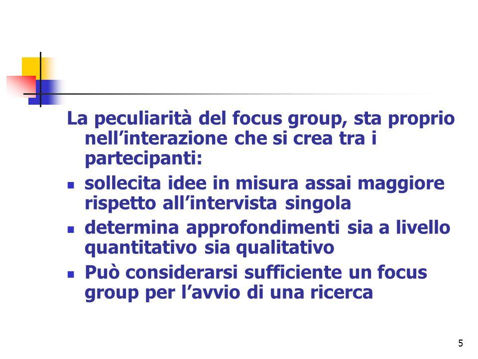 La peculiarità del focus group, sta proprio nell'interazione che si crea tra i partecipanti: