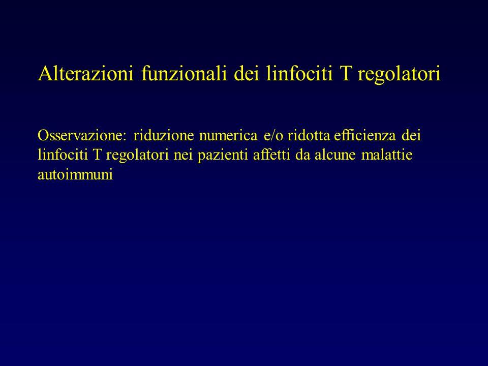 Alterazioni funzionali dei linfociti T regolatori