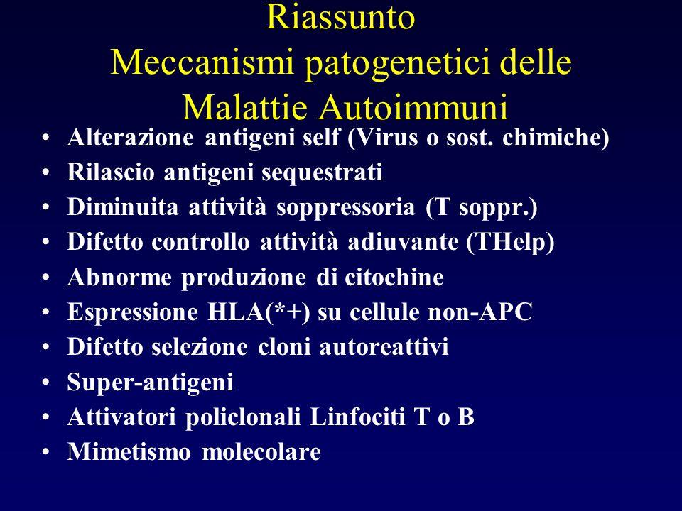 Riassunto Meccanismi patogenetici delle Malattie Autoimmuni