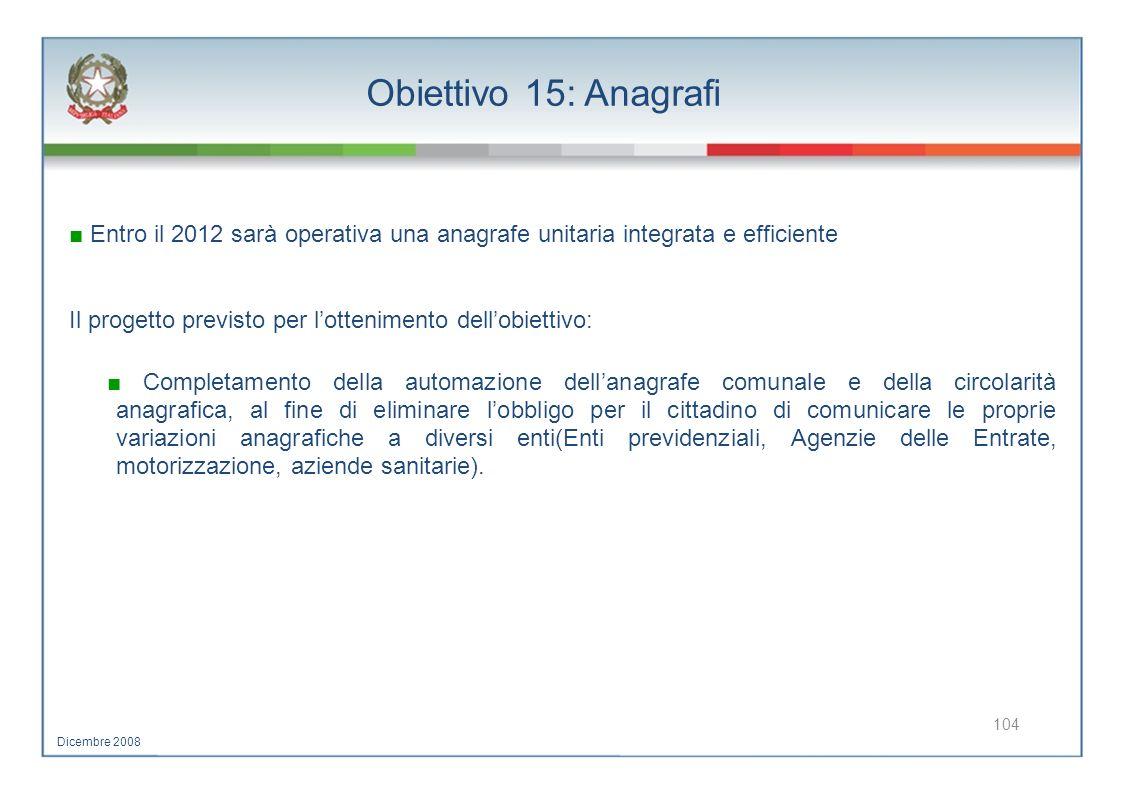 Obiettivo 15: Anagrafi ■ Entro il 2012 sarà operativa una anagrafe unitaria integrata e efficiente.