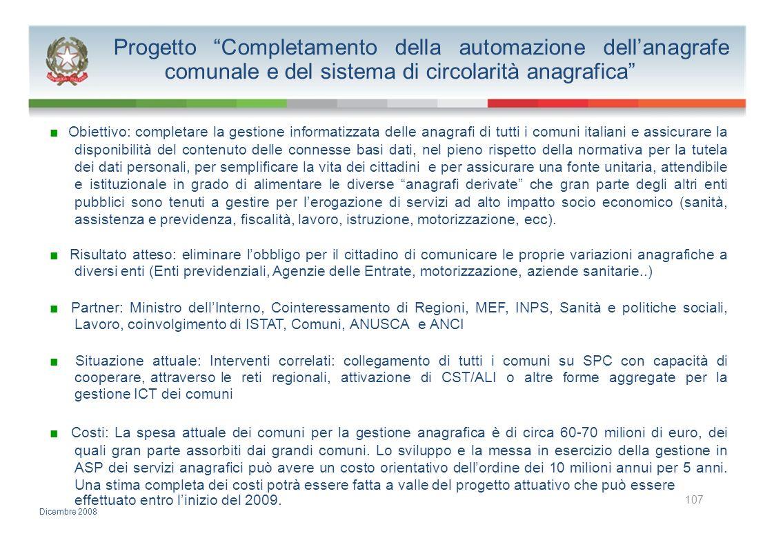 Progetto Completamento della automazione dell'anagrafe comunale e del sistema di circolarità anagrafica