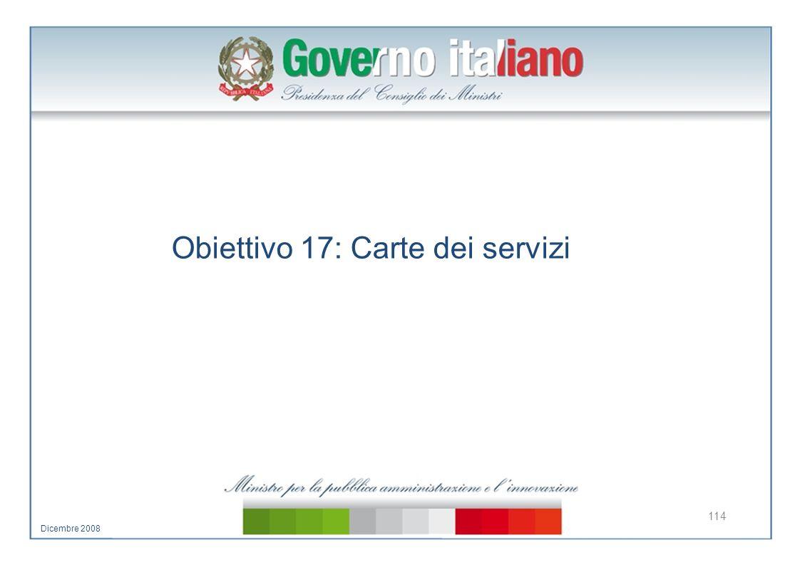 Obiettivo 17: Carte dei servizi