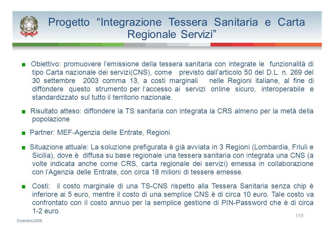 Progetto Integrazione Tessera Sanitaria e Carta Regionale Servizi