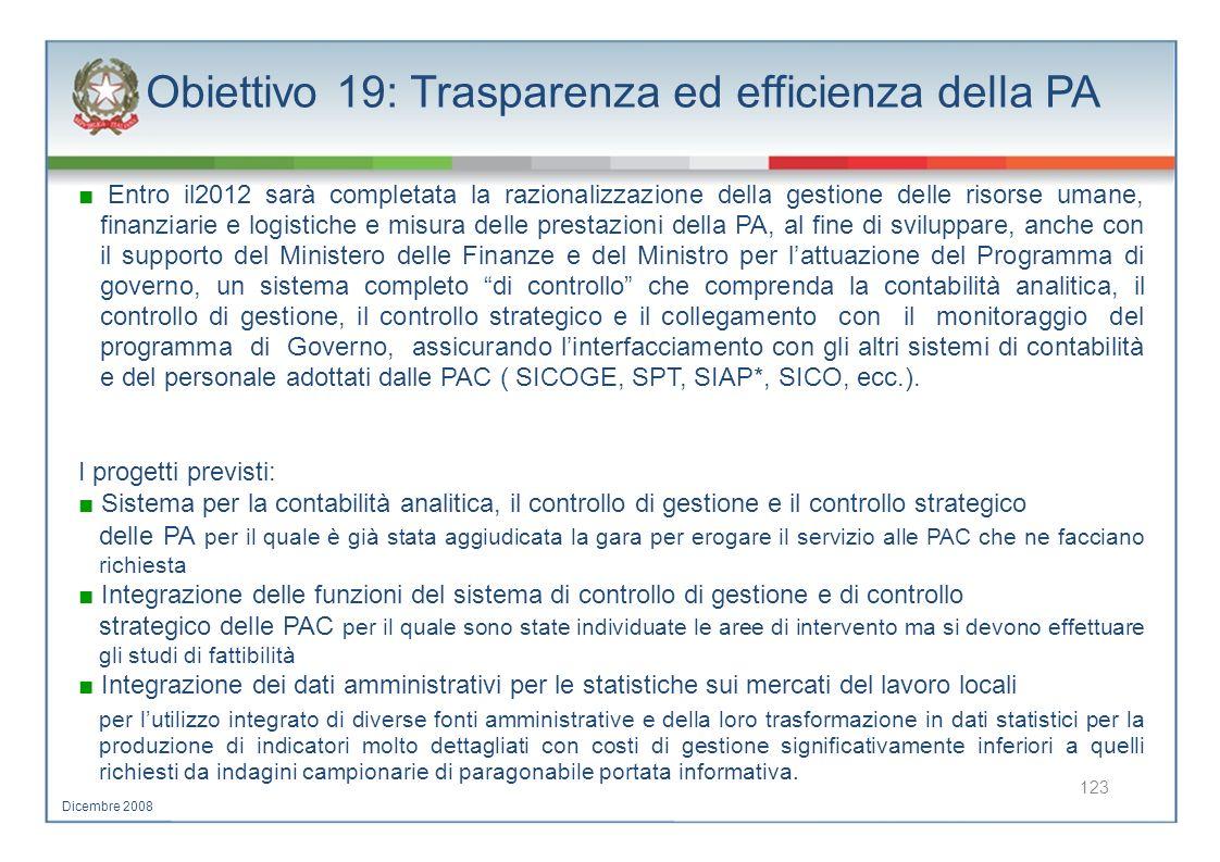 Obiettivo 19: Trasparenza ed efficienza della PA