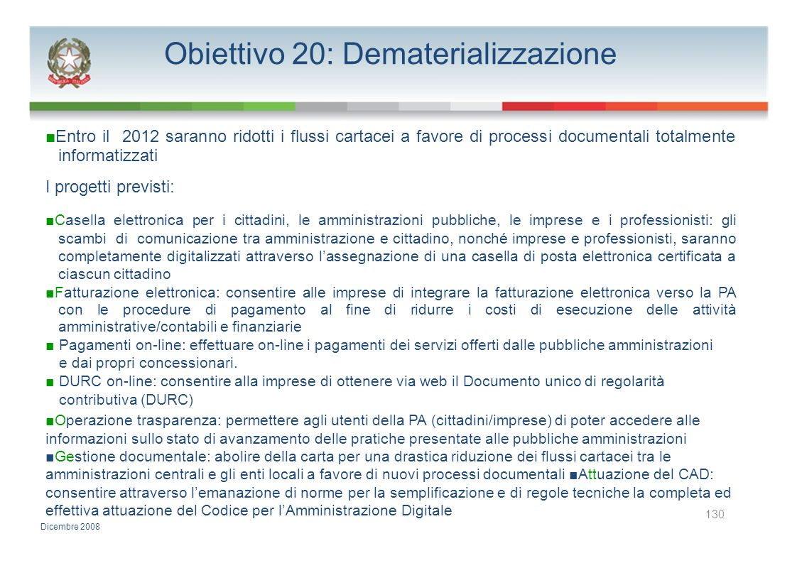 Obiettivo 20: Dematerializzazione