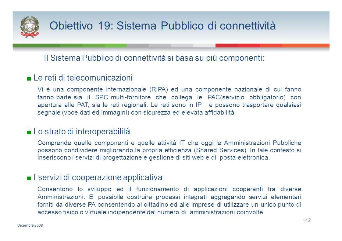 Obiettivo 19: Sistema Pubblico di connettività