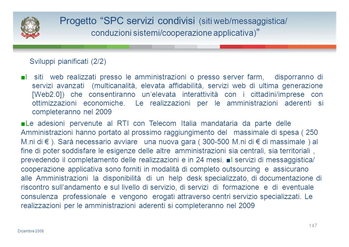 Progetto SPC servizi condivisi (siti web/messaggistica/