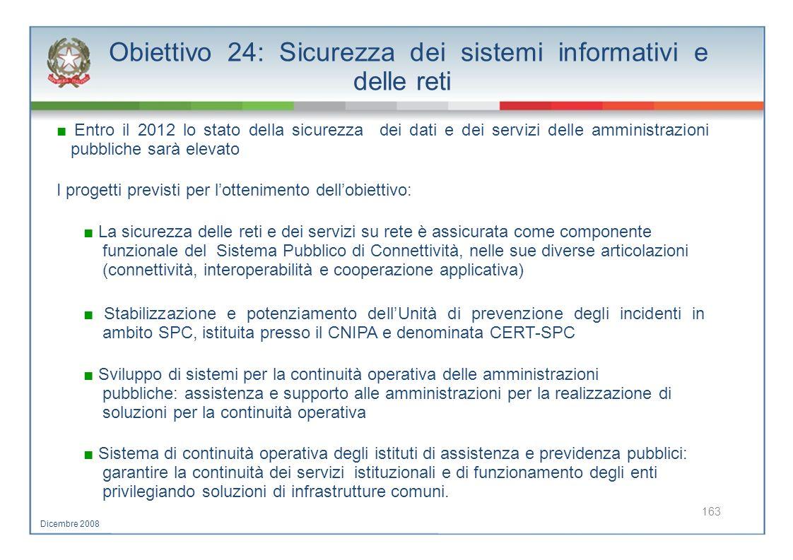 Obiettivo 24: Sicurezza dei sistemi informativi e delle reti