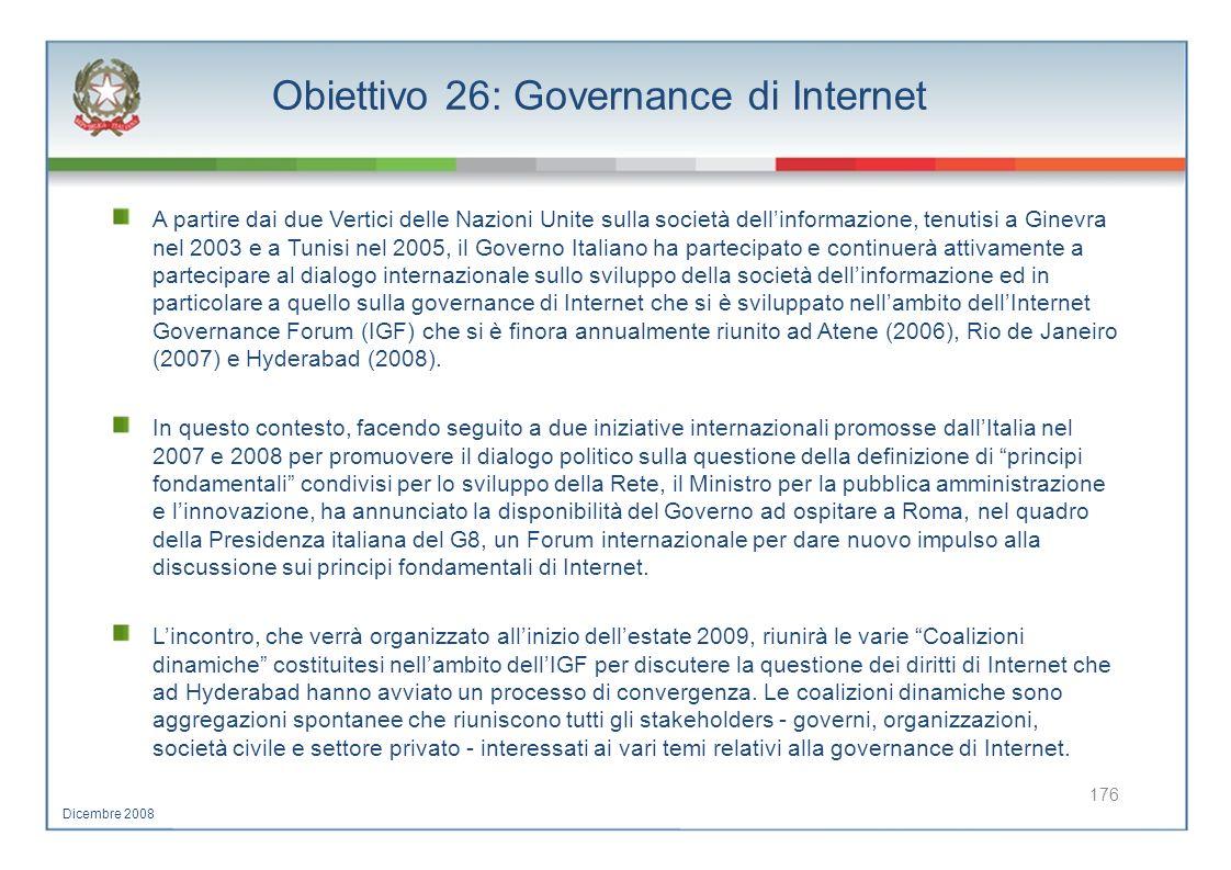 Obiettivo 26: Governance di Internet