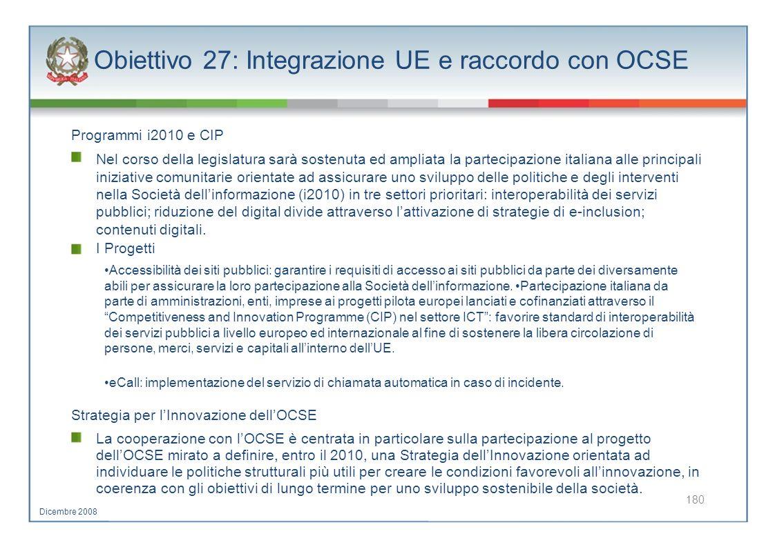 Obiettivo 27: Integrazione UE e raccordo con OCSE