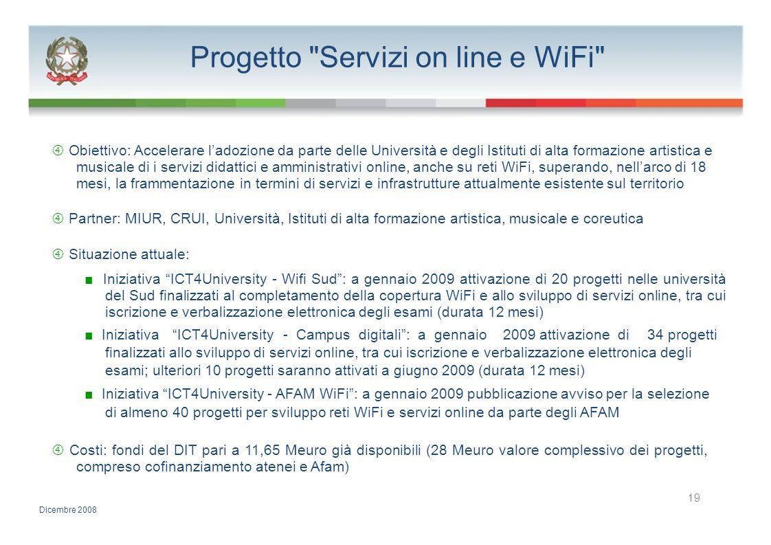 Progetto Servizi on line e WiFi