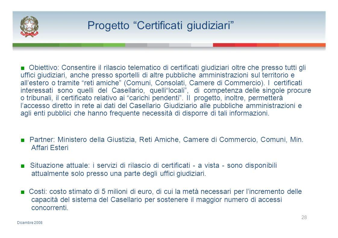 Progetto Certificati giudiziari