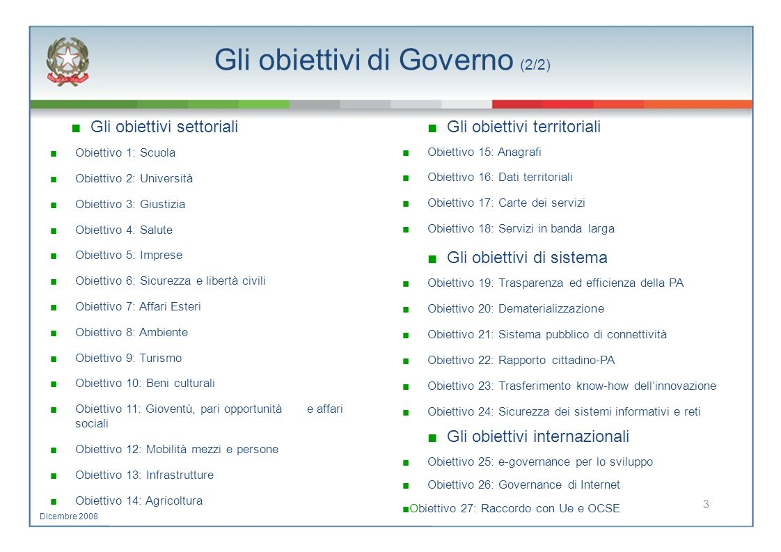 Gli obiettivi di Governo (2/2)