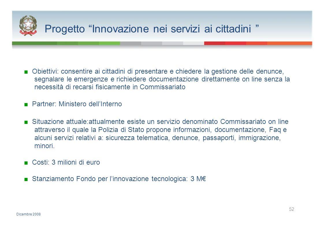 Progetto Innovazione nei servizi ai cittadini