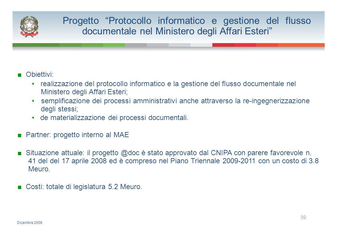 Progetto Protocollo informatico e gestione del flusso documentale nel Ministero degli Affari Esteri