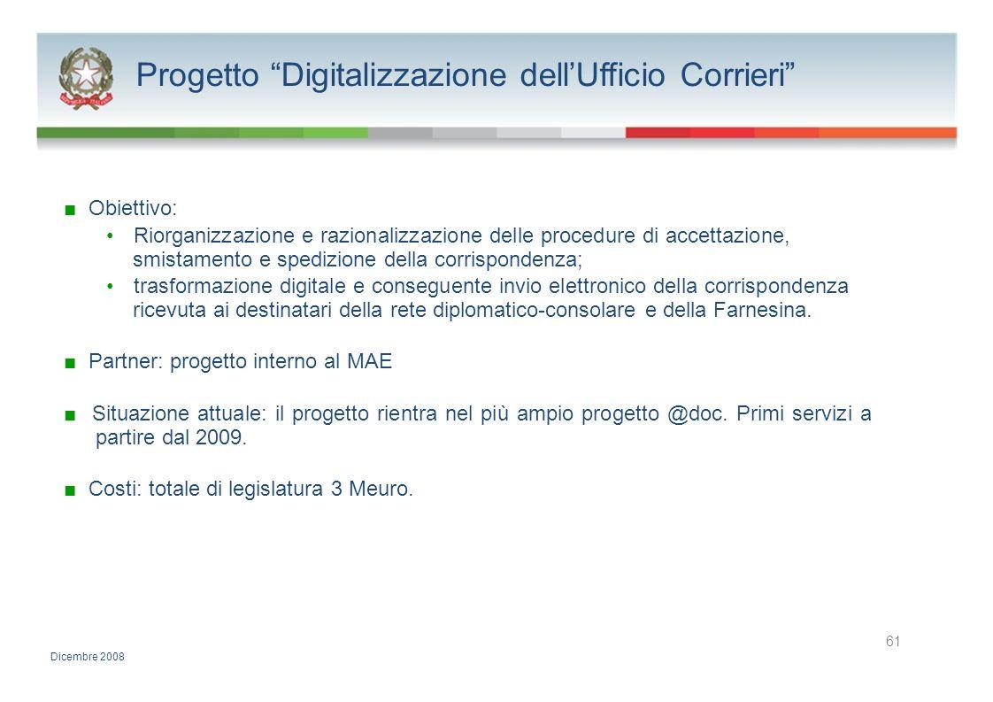 Progetto Digitalizzazione dell'Ufficio Corrieri