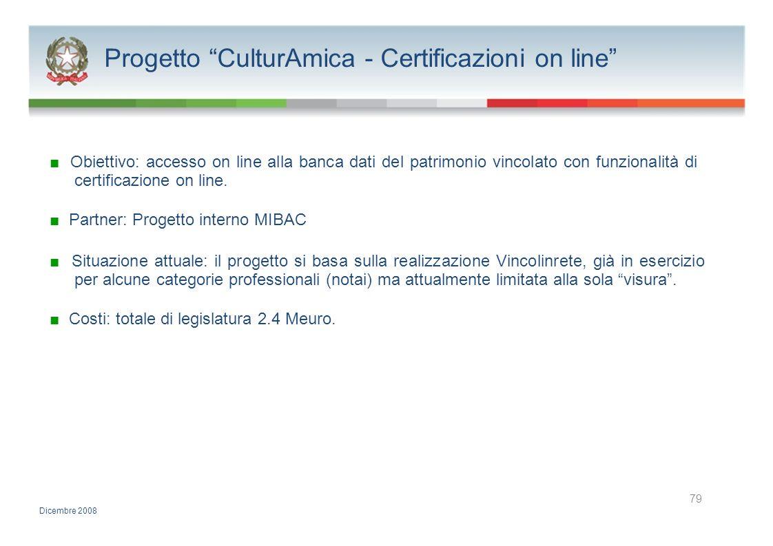 Progetto CulturAmica - Certificazioni on line