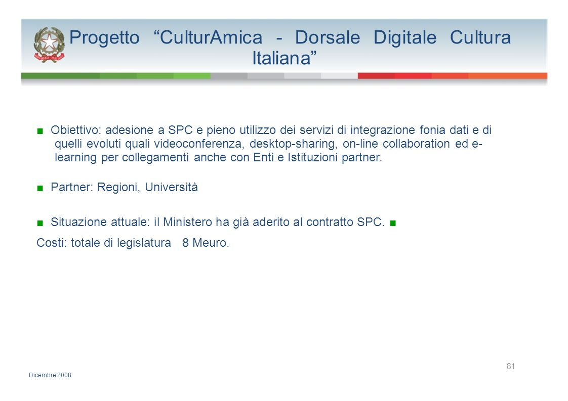 Progetto CulturAmica - Dorsale Digitale Cultura Italiana
