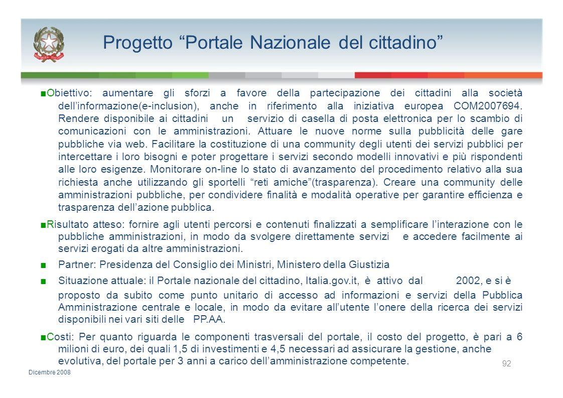 Progetto Portale Nazionale del cittadino